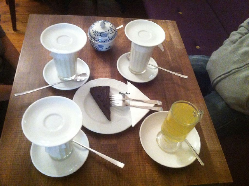 """Photo of Cafe Freudberg  by <a href=""""/members/profile/J-Veg"""">J-Veg</a> <br/>almond milk chai latte and tea, plus vegan brownie <br/> November 23, 2016  - <a href='/contact/abuse/image/54510/193753'>Report</a>"""