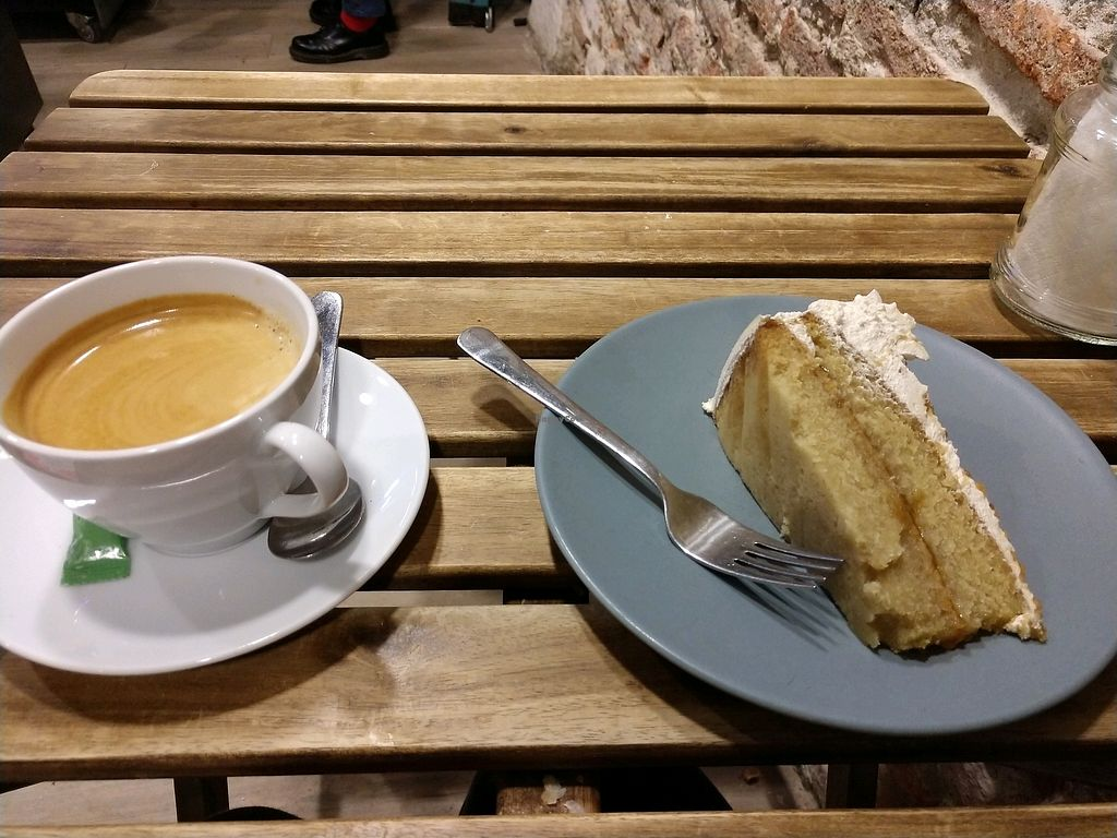 """Photo of Bohemian Lane  by <a href=""""/members/profile/DebbieLee"""">DebbieLee</a> <br/>5.,10€ for a locally sourced americano and a slice of VEGAN cake  <br/> February 24, 2018  - <a href='/contact/abuse/image/54543/363359'>Report</a>"""