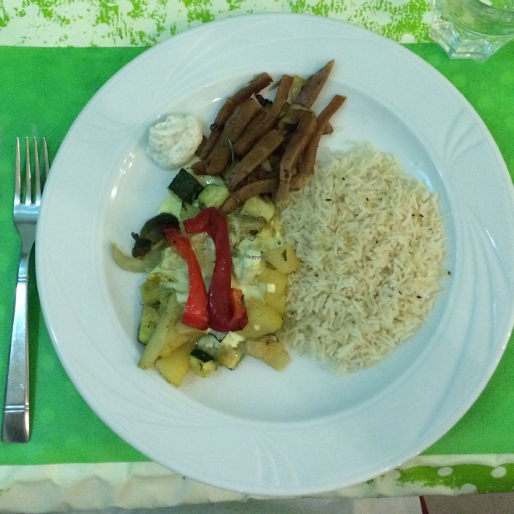 """Photo of Welcome Bistrot  by <a href=""""/members/profile/Arkie"""">Arkie</a> <br/>Grilled seitan, rice, vegetables and vegan dips <br/> January 8, 2016  - <a href='/contact/abuse/image/54573/131499'>Report</a>"""