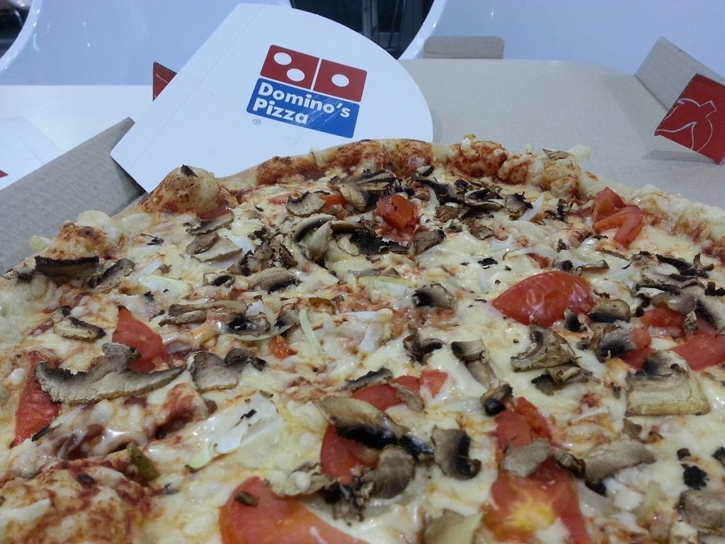 """Photo of Domino's Pizza - Tel Aviv Port  by <a href=""""/members/profile/Atar%20Herbivora"""">Atar Herbivora</a> <br/>Vegan pizza <br/> October 7, 2016  - <a href='/contact/abuse/image/54583/180475'>Report</a>"""