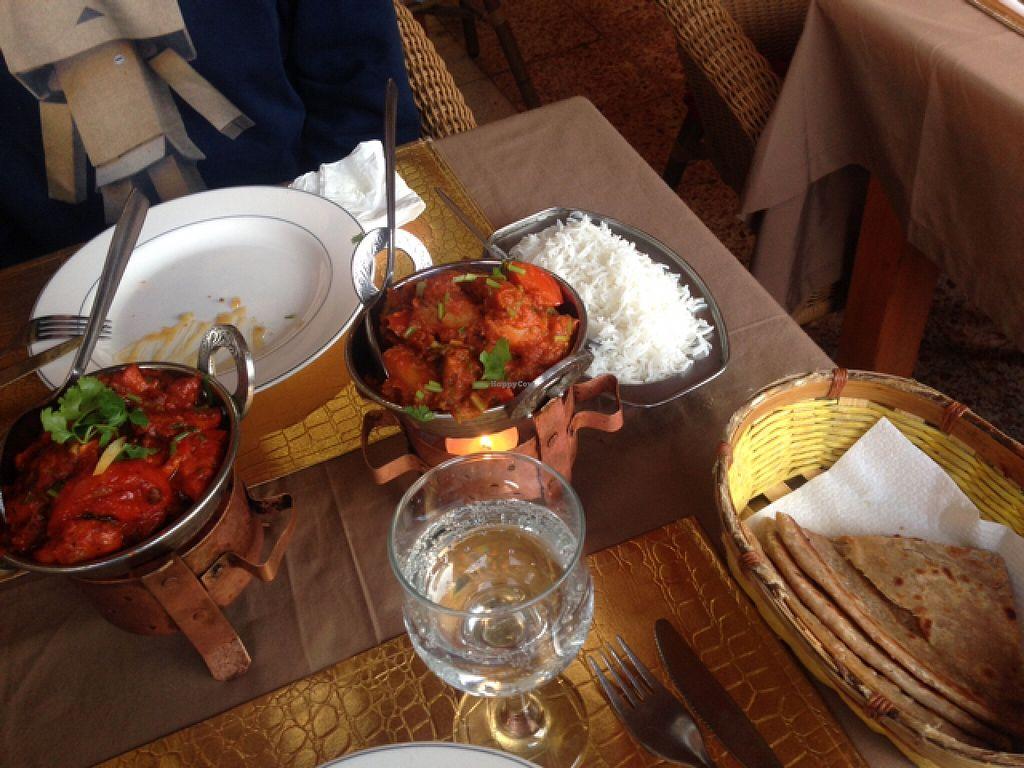 "Photo of Maharaja Palace Indian Tandoori Restaurant  by <a href=""/members/profile/Karisafari"">Karisafari</a> <br/>mock meat yalfrezi - aloo curry and paratha bread <br/> March 2, 2016  - <a href='/contact/abuse/image/54594/138517'>Report</a>"