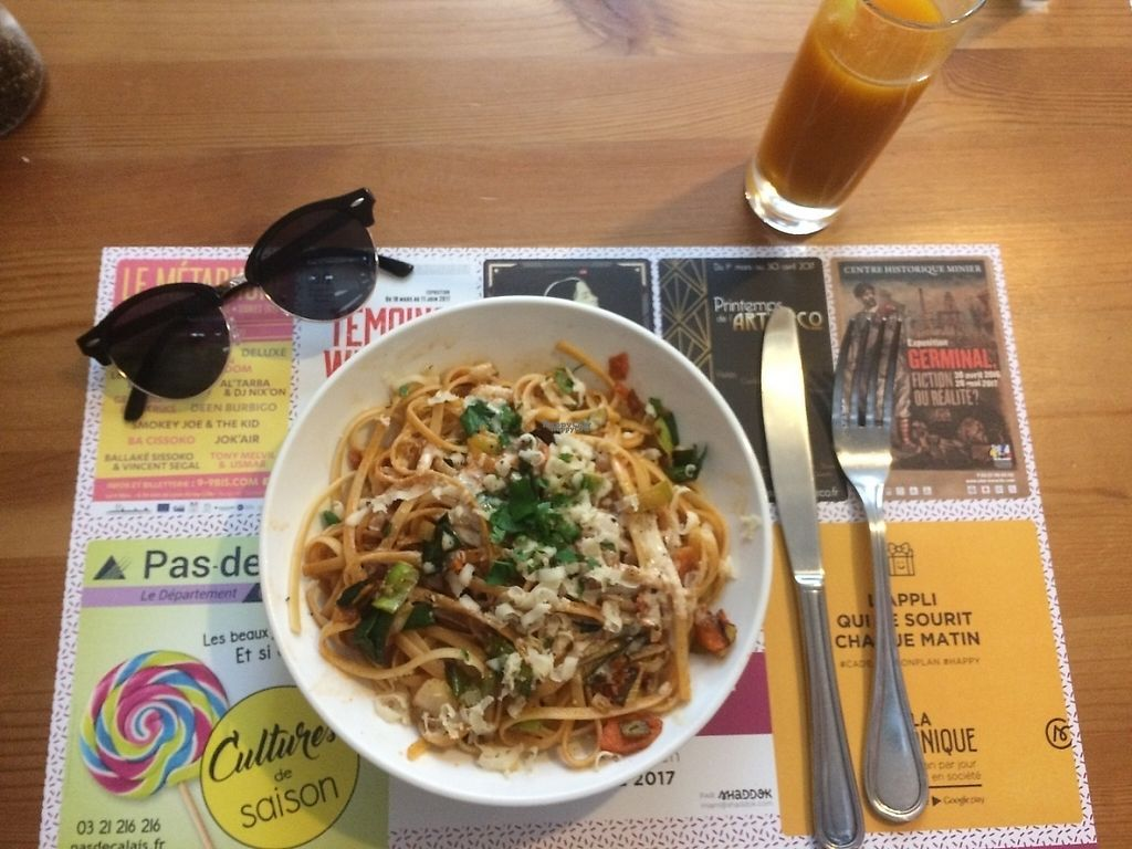 """Photo of Mezzaluna  by <a href=""""/members/profile/ConsciousEarthling"""">ConsciousEarthling</a> <br/>Special of the day - linguini with vegetables in a peanut sauce with house made Parmesan  <br/> April 4, 2017  - <a href='/contact/abuse/image/54608/244755'>Report</a>"""