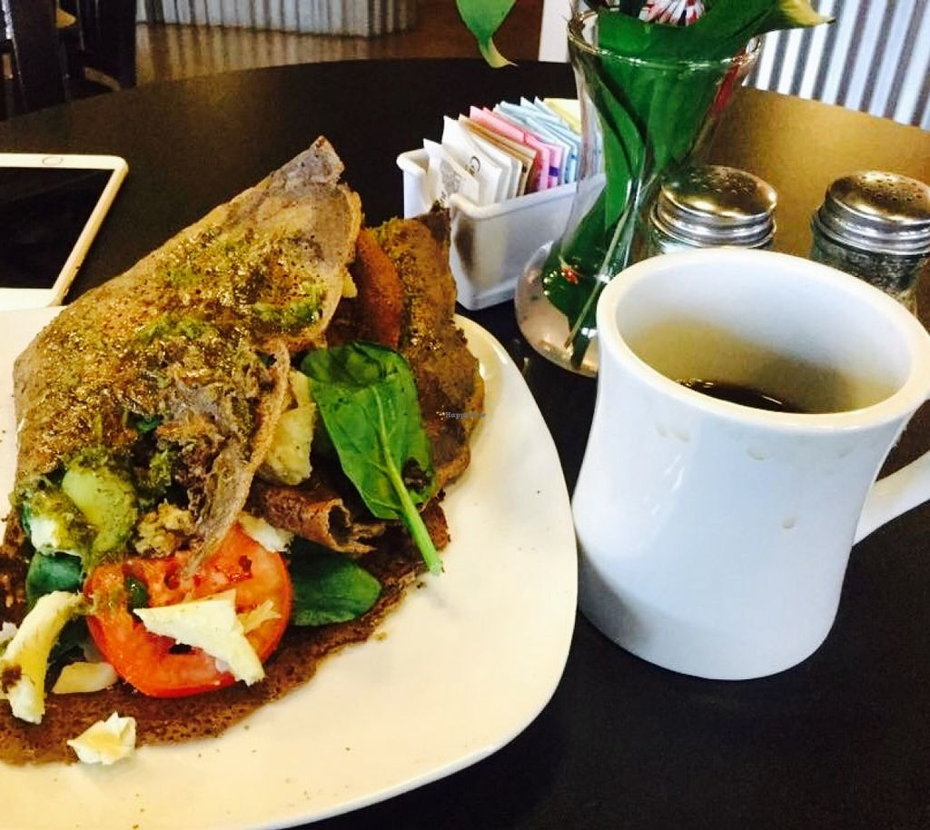 """Photo of Oregon Crepe Cafe  by <a href=""""/members/profile/Arthousebill"""">Arthousebill</a> <br/>Savory vegan crepe <br/> April 5, 2016  - <a href='/contact/abuse/image/54612/142987'>Report</a>"""