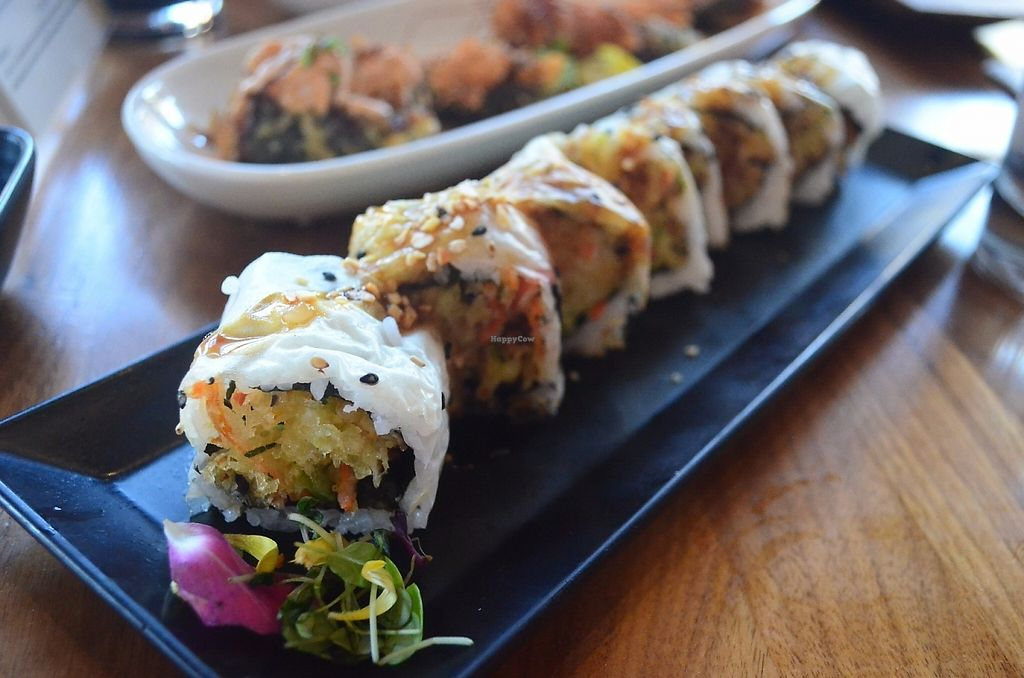 """Photo of Shizen Vegan Sushi Bar  by <a href=""""/members/profile/alexandra_vegan"""">alexandra_vegan</a> <br/>Hidden Agenda Roll (tempura eggplant, bell pepper, zucchini, carrot, yellow onion, fried garlic) <br/> May 15, 2017  - <a href='/contact/abuse/image/54689/259172'>Report</a>"""