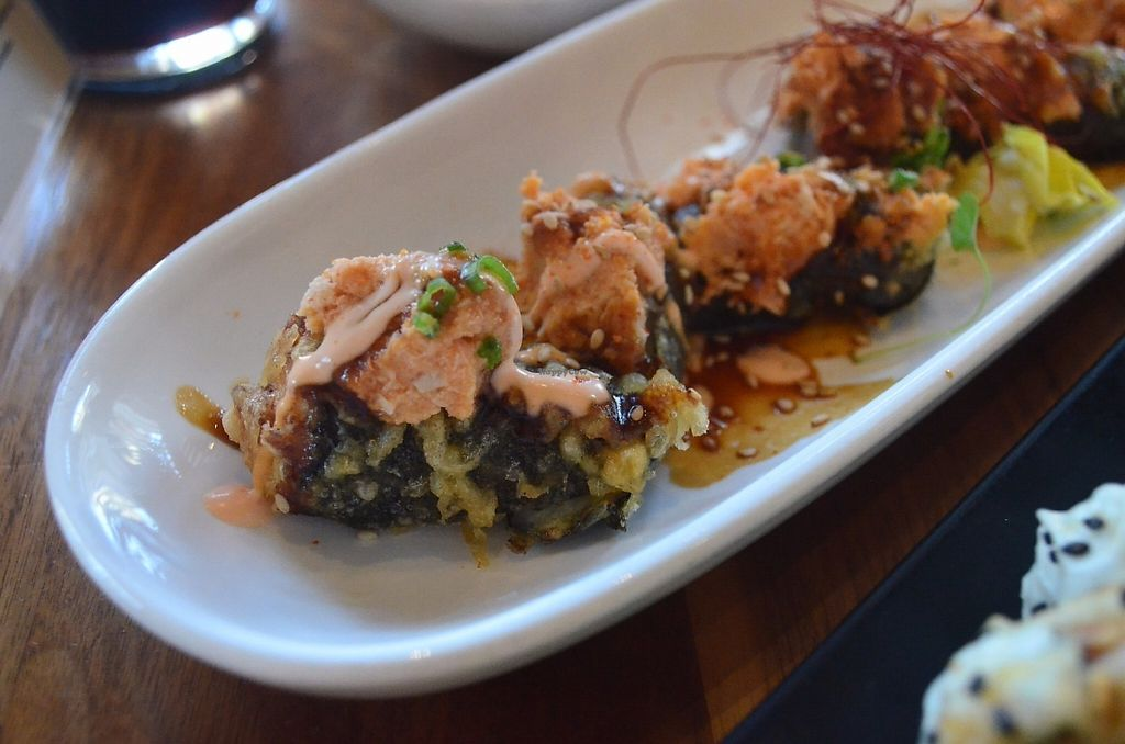 """Photo of Shizen Vegan Sushi Bar  by <a href=""""/members/profile/alexandra_vegan"""">alexandra_vegan</a> <br/>Boddy & Soul (Tempura fried roll with spicy bean curd, tapioca, negi, togarashi, sesame, and secret sauce) <br/> May 15, 2017  - <a href='/contact/abuse/image/54689/259173'>Report</a>"""