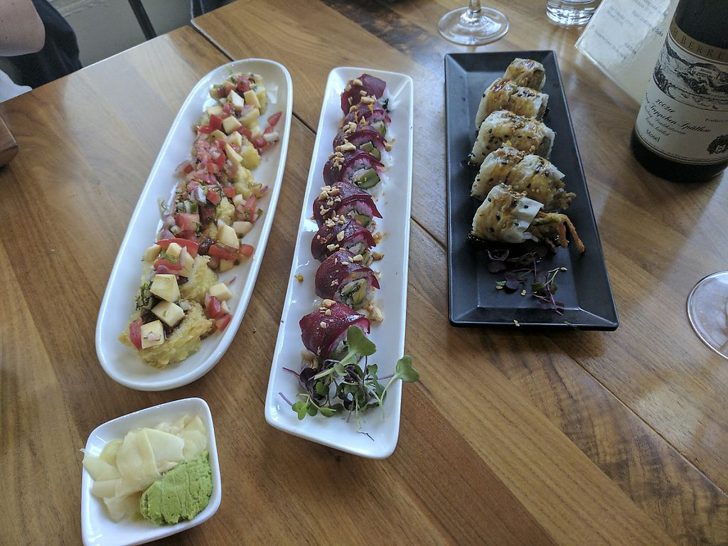 """Photo of Shizen Vegan Sushi Bar  by <a href=""""/members/profile/lizardlucas"""">lizardlucas</a> <br/>Three of their specialty rolls (left to right): plot twist, colonel's pipe, and hidden agenda <br/> June 4, 2017  - <a href='/contact/abuse/image/54689/265846'>Report</a>"""