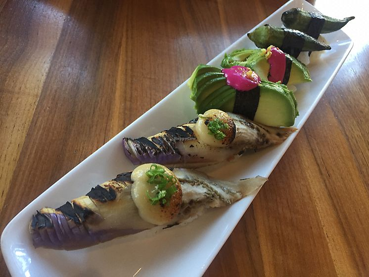 """Photo of Shizen Vegan Sushi Bar  by <a href=""""/members/profile/Bea_lc"""">Bea_lc</a> <br/>boring aubergine and avocado nigiri <br/> June 28, 2017  - <a href='/contact/abuse/image/54689/274401'>Report</a>"""