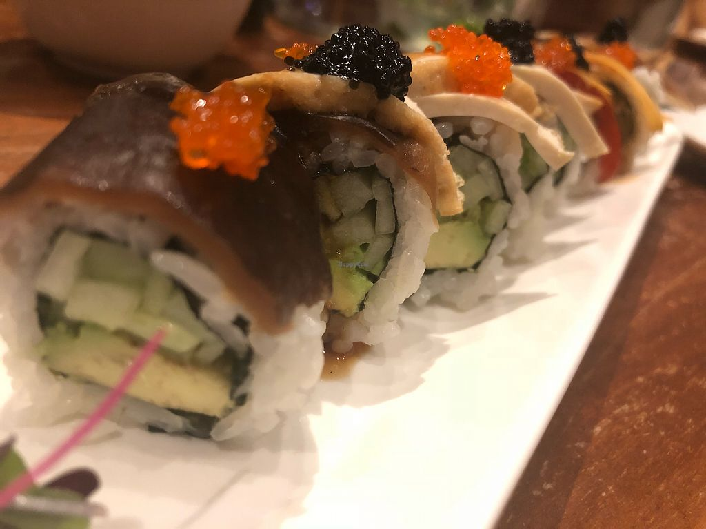 """Photo of Shizen Vegan Sushi Bar  by <a href=""""/members/profile/MEvegan"""">MEvegan</a> <br/>This roll is in the style of a rainbow roll, it's amazing and lets you try a bunch of the amazing sushi.  <br/> March 4, 2018  - <a href='/contact/abuse/image/54689/366713'>Report</a>"""