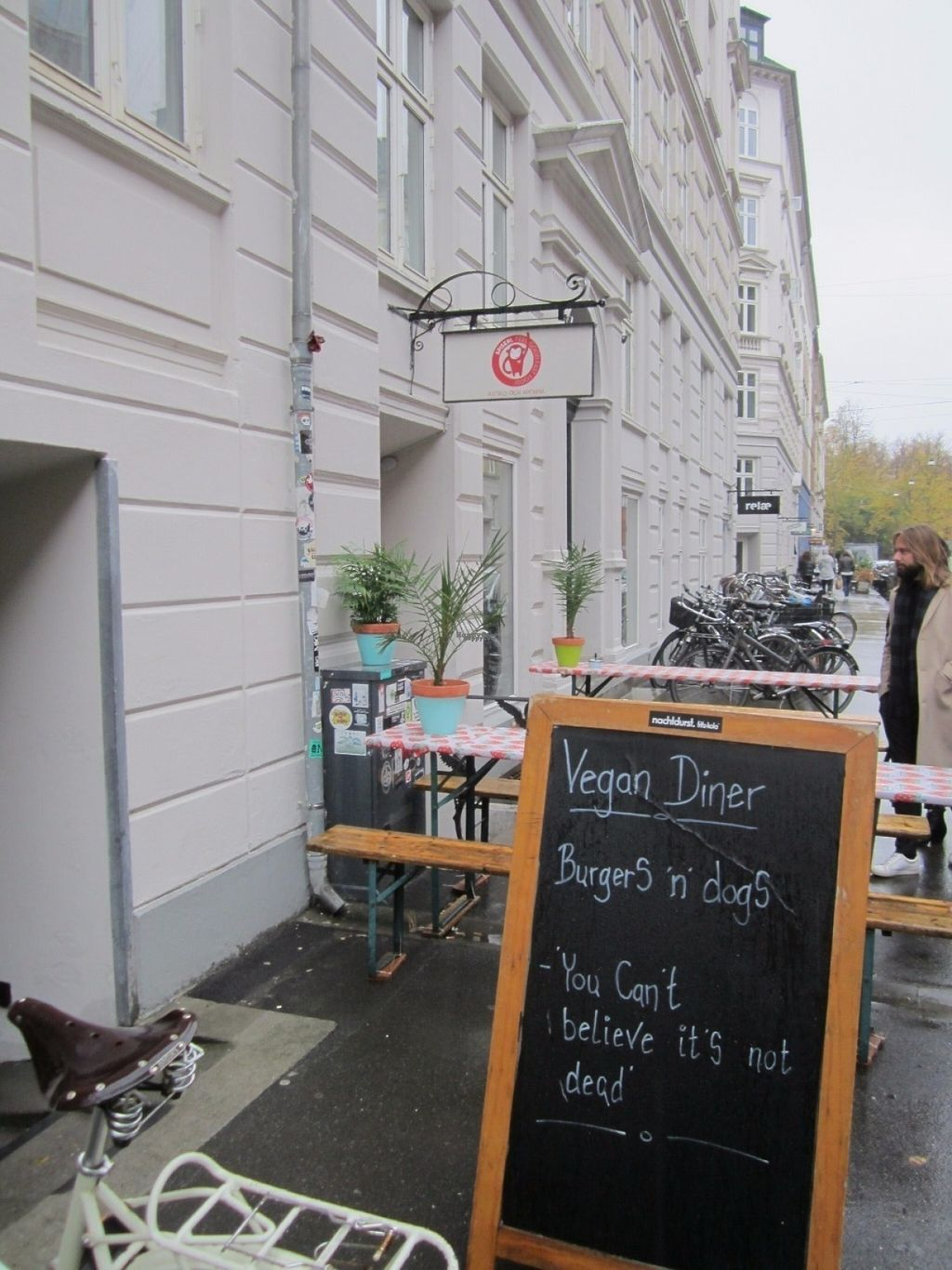 """Photo of CLOSED: Astrid och Aporna - Cph  by <a href=""""/members/profile/Trissan"""">Trissan</a> <br/>Astrid og aberne's street sign. A cosy little place.  And ALL is vegan!  <br/> November 3, 2016  - <a href='/contact/abuse/image/54710/186315'>Report</a>"""