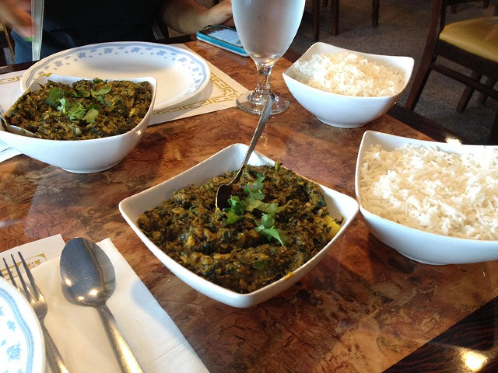 """Photo of Ruchi Vegetarian Indian Cuisine  by <a href=""""/members/profile/Tigra220"""">Tigra220</a> <br/>vegan Aloo Saag in the forefront; vegetarian Aloo Saag in the back <br/> May 10, 2015  - <a href='/contact/abuse/image/54734/101828'>Report</a>"""