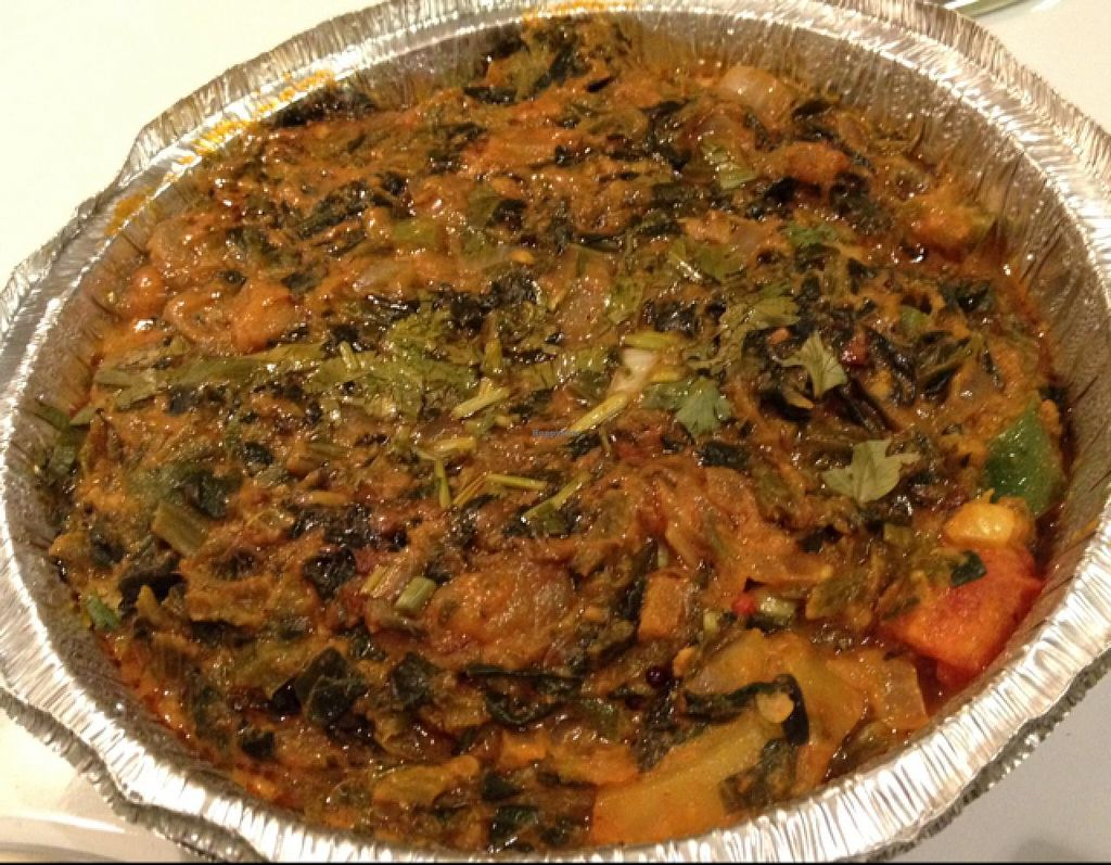 """Photo of Ruchi Vegetarian Indian Cuisine  by <a href=""""/members/profile/Tigra220"""">Tigra220</a> <br/>Aloo Saag vegan (carry-out)  <br/> July 5, 2015  - <a href='/contact/abuse/image/54734/108291'>Report</a>"""