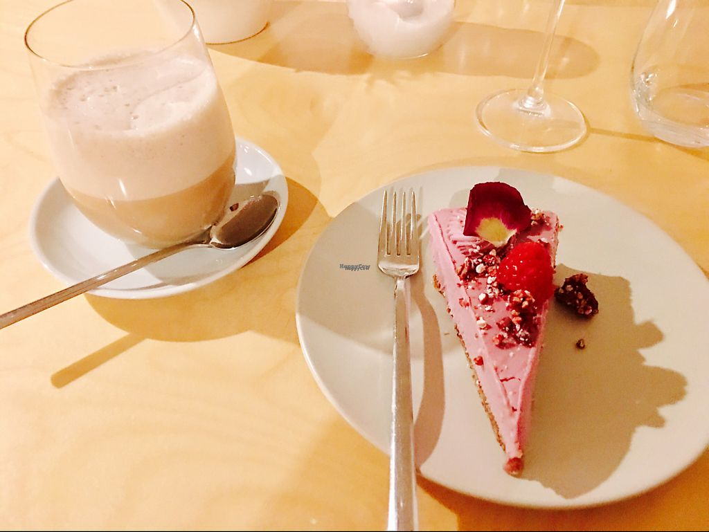 """Photo of Mantra Raw  by <a href=""""/members/profile/Amina"""">Amina</a> <br/>Raw vegan Raspberry cheese cake and hot latte tea with almond milk <br/> March 29, 2017  - <a href='/contact/abuse/image/54756/242468'>Report</a>"""