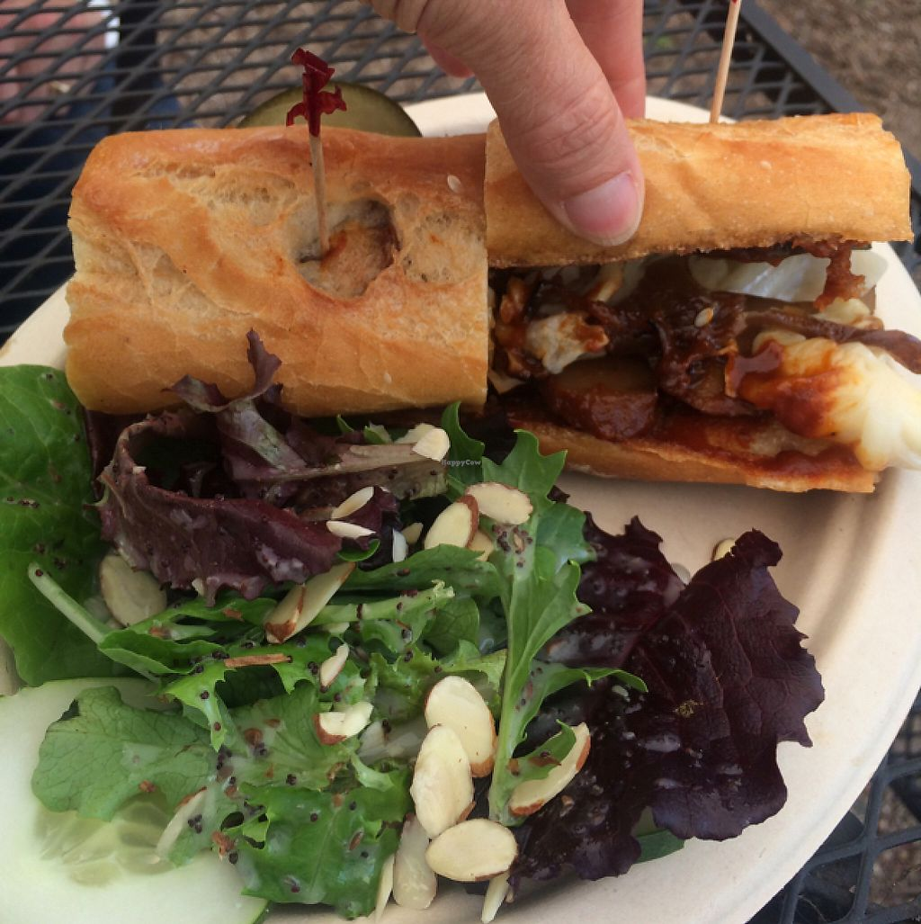 """Photo of Bistro Vonish Food Truck  by <a href=""""/members/profile/TDHill"""">TDHill</a> <br/>BBQ Seitan Sandwich  <br/> May 19, 2017  - <a href='/contact/abuse/image/54761/260365'>Report</a>"""