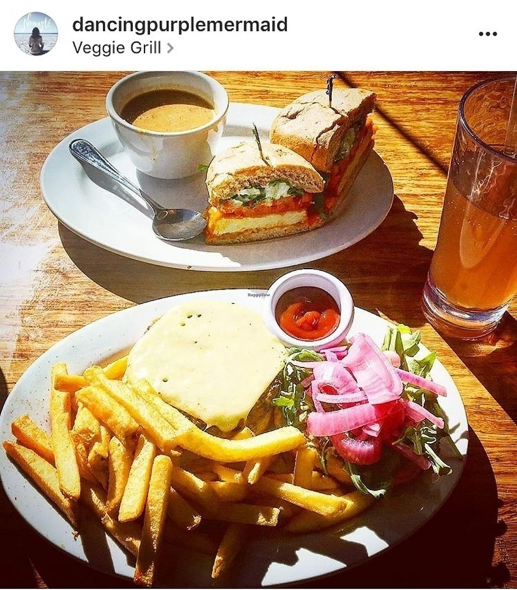 "Photo of Veggie Grill  by <a href=""/members/profile/Dancingpurplemermaid"">Dancingpurplemermaid</a> <br/>Burger, fries and soup vegan for me, vegetarian for my boyfriend <br/> May 31, 2017  - <a href='/contact/abuse/image/54764/264534'>Report</a>"