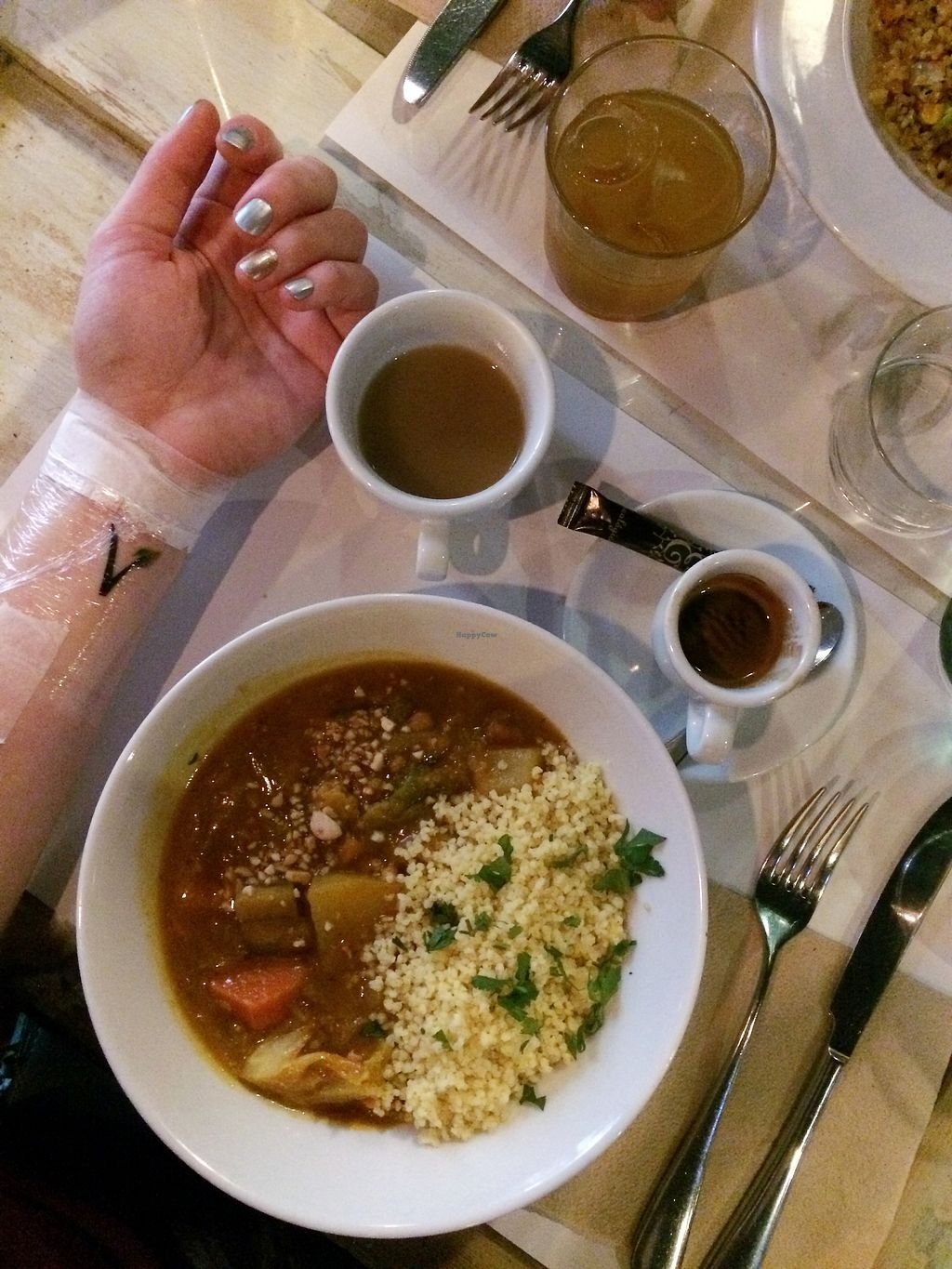 """Photo of VEGA  by <a href=""""/members/profile/LaurenSmith"""">LaurenSmith</a> <br/>A curry-esque dish, a DELICIOUS sopapilla in the top cup, an espresso, and a new tattoo :) <br/> February 18, 2018  - <a href='/contact/abuse/image/54785/360937'>Report</a>"""