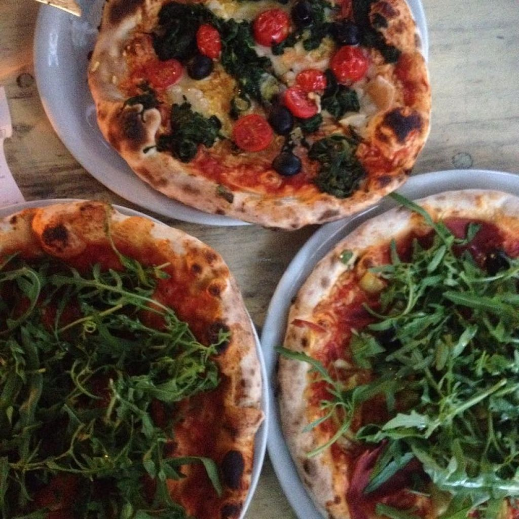 """Photo of Francesca & Fratelli - Linden  by <a href=""""/members/profile/Valises%20Gourmandises"""">Valises Gourmandises</a> <br/>Two vegan pizzas and a Margherita pizza, cheese replaced with rucola and black olives. Oh the taste of Italy! <br/> October 28, 2015  - <a href='/contact/abuse/image/54786/123023'>Report</a>"""