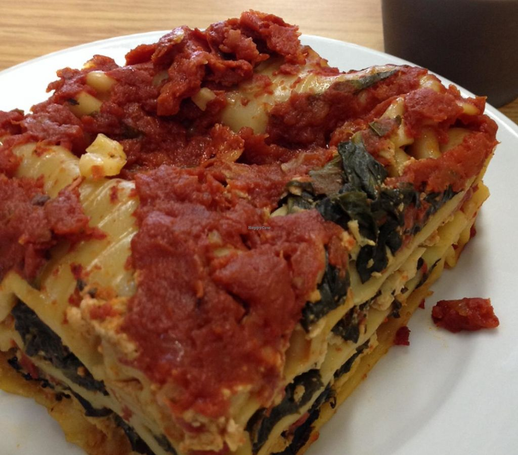 """Photo of Loving Hut Vegan Cuisine  by <a href=""""/members/profile/Veg4Jay"""">Veg4Jay</a> <br/>lasagna--chocolate pudding behind <br/> February 6, 2015  - <a href='/contact/abuse/image/54836/199238'>Report</a>"""