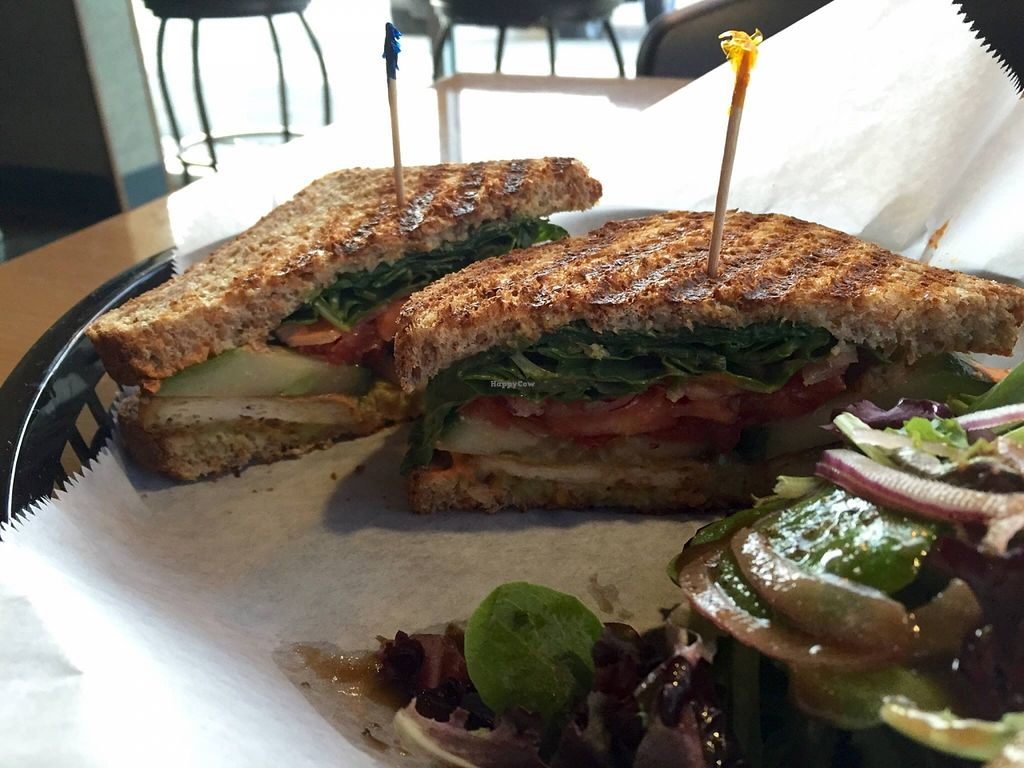 """Photo of Mama Jean's Natural Foods Market  by <a href=""""/members/profile/clovely.vegan"""">clovely.vegan</a> <br/>'The Brigitte Bardot' panini (in-house seasoned tofu, cucumber, tomato, avocado, spinach, roasted red pepper sauce, brown mustard on sprouted grain bread) <br/> October 21, 2015  - <a href='/contact/abuse/image/5485/122053'>Report</a>"""