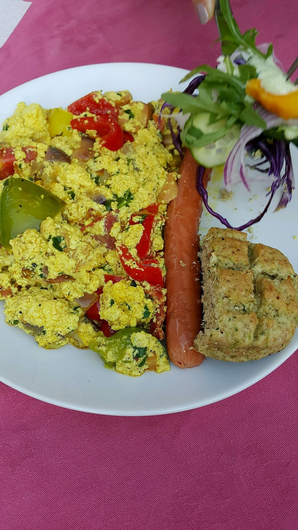 """Photo of Edeni Vegan  by <a href=""""/members/profile/RimaBarakat"""">RimaBarakat</a> <br/>Tofu and sausage breakfast  <br/> October 16, 2017  - <a href='/contact/abuse/image/5490/315978'>Report</a>"""