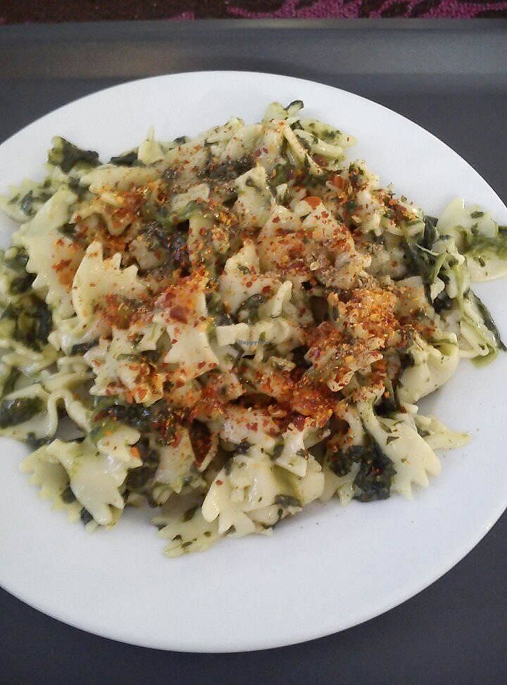 """Photo of Edeni Vegan  by <a href=""""/members/profile/FernandoMoreira"""">FernandoMoreira</a> <br/>pasta with spinach <br/> November 4, 2017  - <a href='/contact/abuse/image/5490/321763'>Report</a>"""