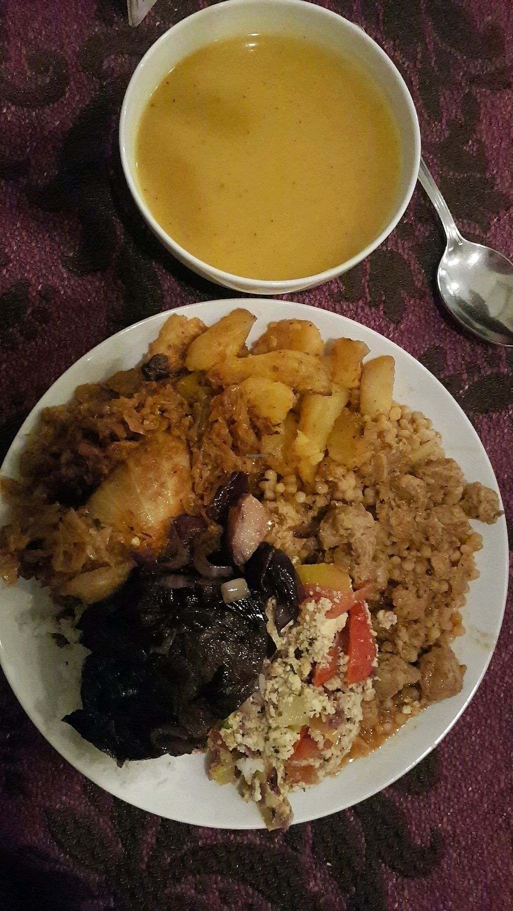 """Photo of Edeni Vegan  by <a href=""""/members/profile/sarz0505"""">sarz0505</a> <br/>Vegan mixed plate with pumpkin soup <br/> December 27, 2017  - <a href='/contact/abuse/image/5490/339614'>Report</a>"""