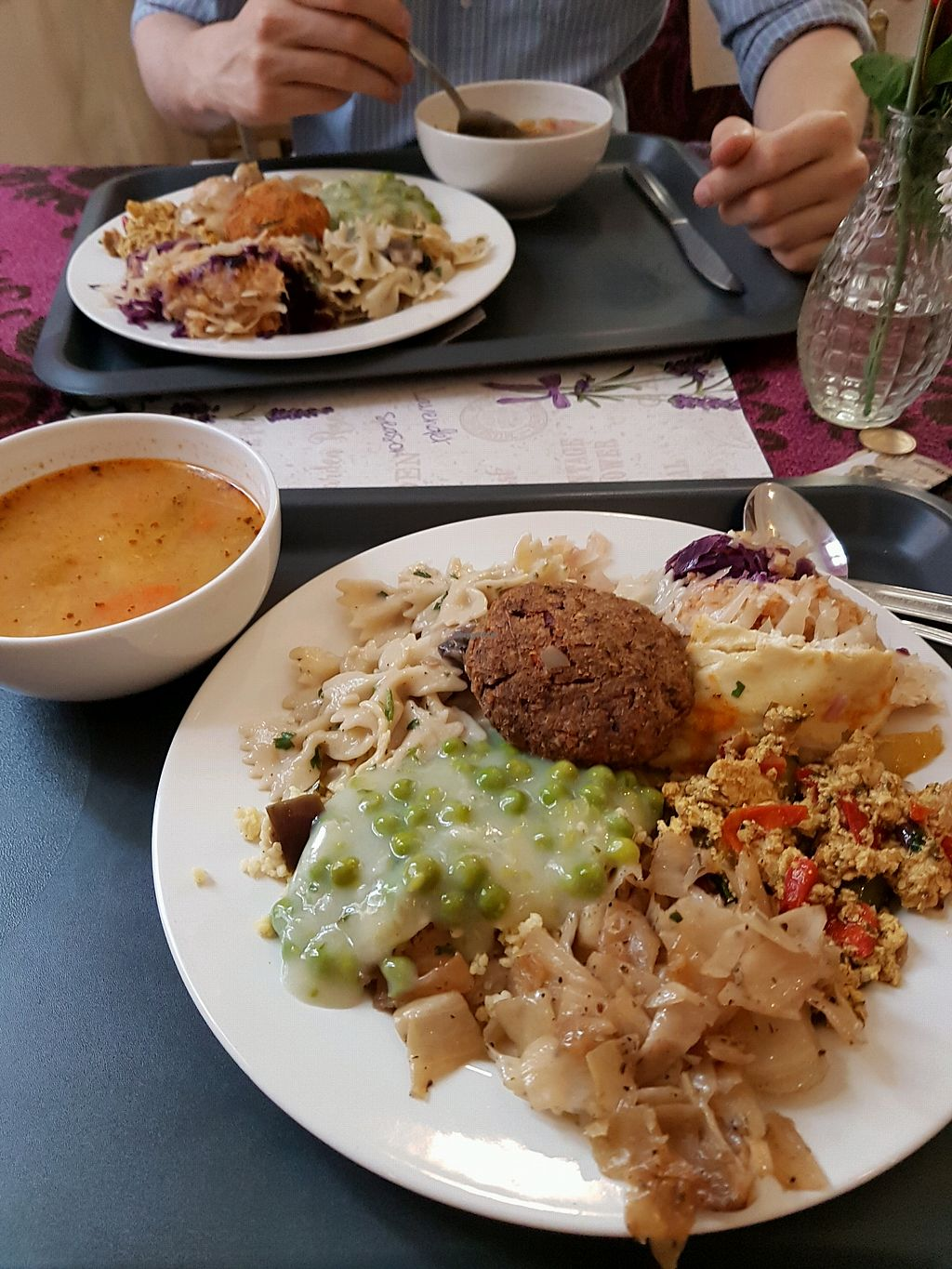"""Photo of Edeni Vegan  by <a href=""""/members/profile/LauraBanana"""">LauraBanana</a> <br/>mixed plate and cabbage soup <br/> April 28, 2018  - <a href='/contact/abuse/image/5490/392050'>Report</a>"""