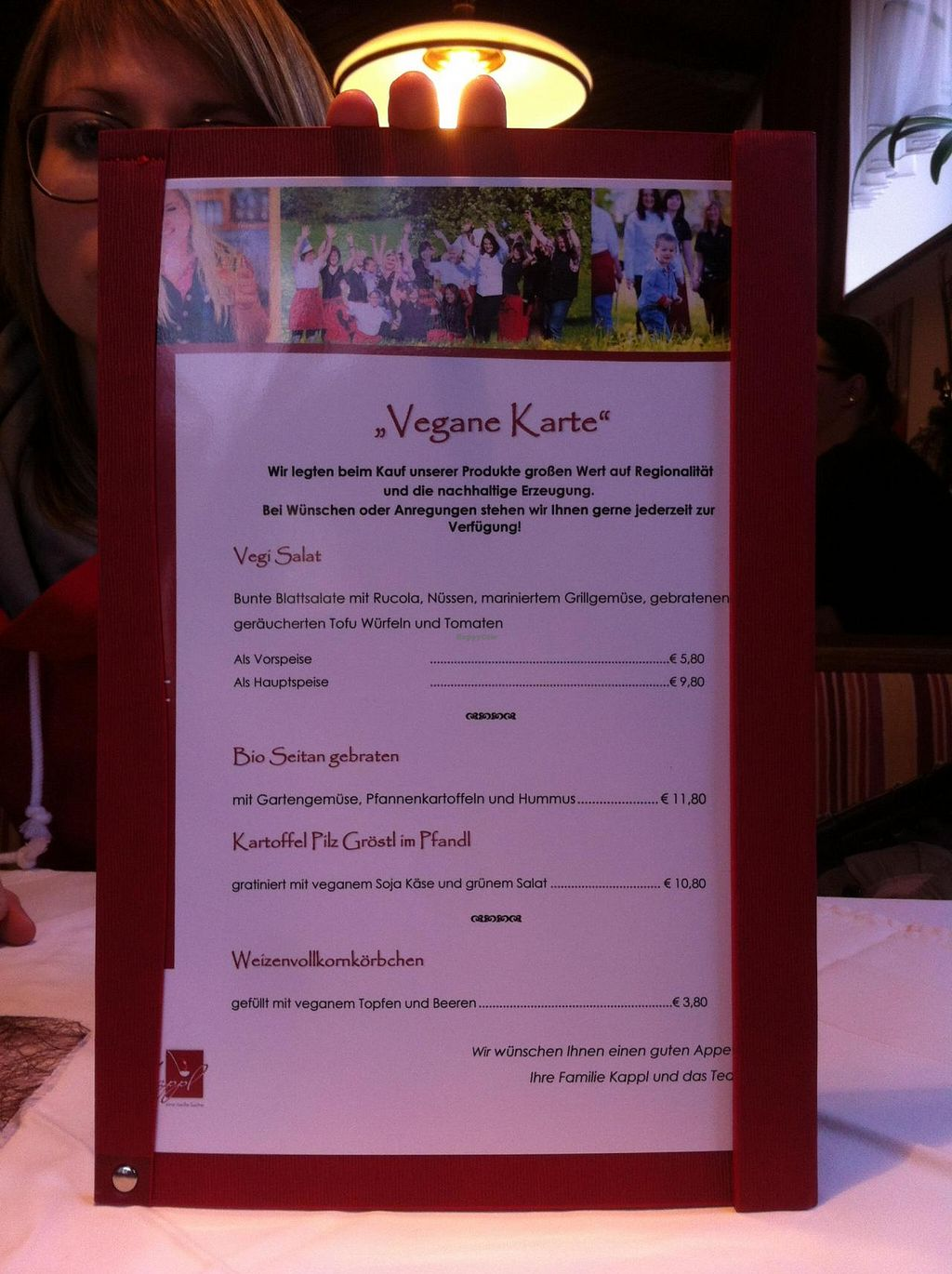 """Photo of Gasthaus Kappl  by <a href=""""/members/profile/SimonGruber"""">SimonGruber</a> <br/>Vegan Menu <br/> January 25, 2015  - <a href='/contact/abuse/image/54912/91396'>Report</a>"""