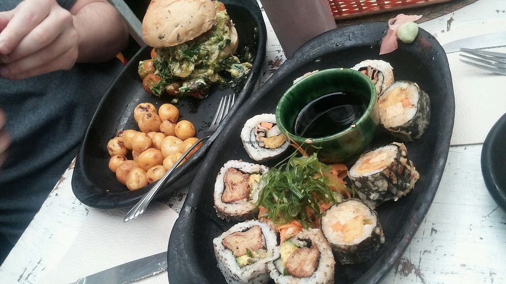 """Photo of Nativo  by <a href=""""/members/profile/ALee1990"""">ALee1990</a> <br/>special of the day (vegan sushi)  and a burger  <br/> February 6, 2018  - <a href='/contact/abuse/image/54950/355648'>Report</a>"""