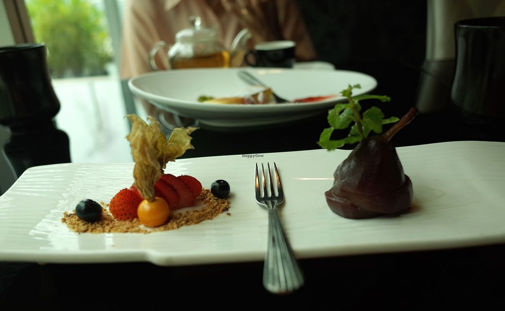 """Photo of Joie Restaurant  by <a href=""""/members/profile/ouikouik"""">ouikouik</a> <br/>Red Wine Poached Pear with Vanilla Ice Cream  <br/> October 3, 2015  - <a href='/contact/abuse/image/54966/119996'>Report</a>"""