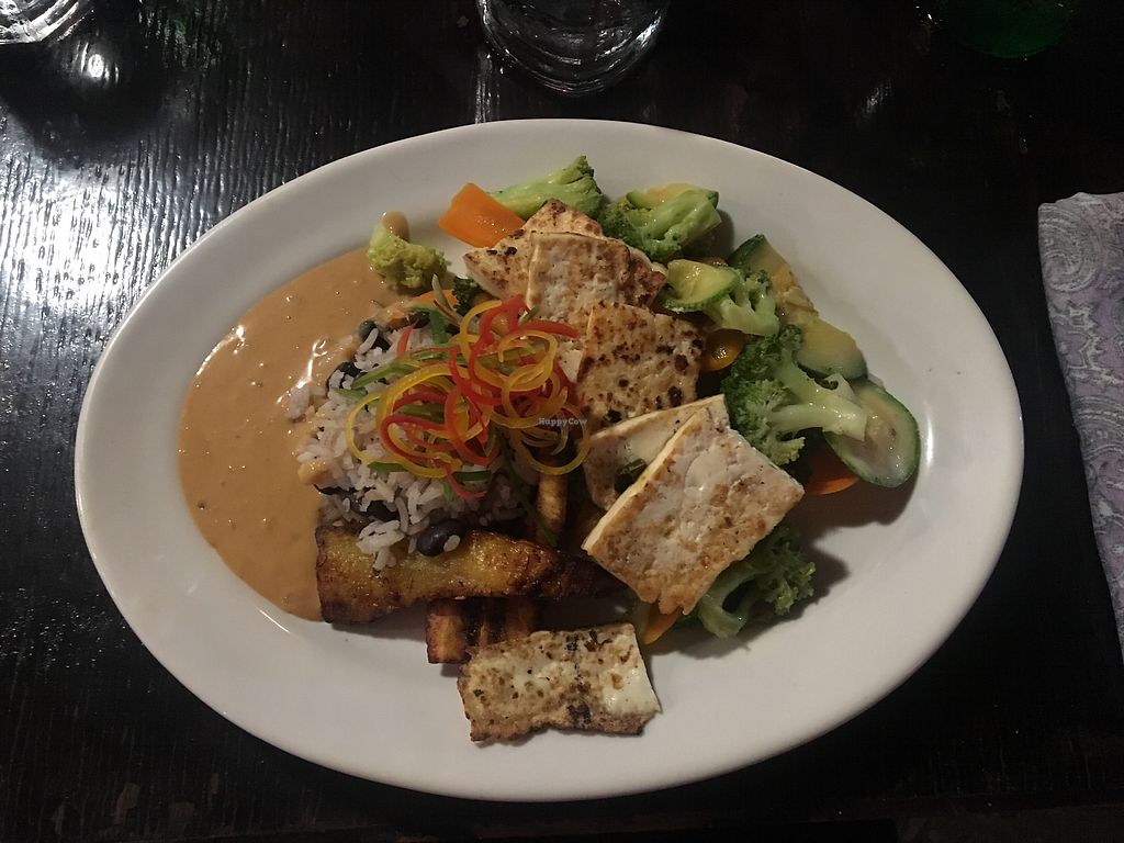 """Photo of Lola Valentina  by <a href=""""/members/profile/annasch"""">annasch</a> <br/>rice, beans, plantains, tofu & vegetables with peanut sauce <br/> September 6, 2017  - <a href='/contact/abuse/image/54967/301344'>Report</a>"""