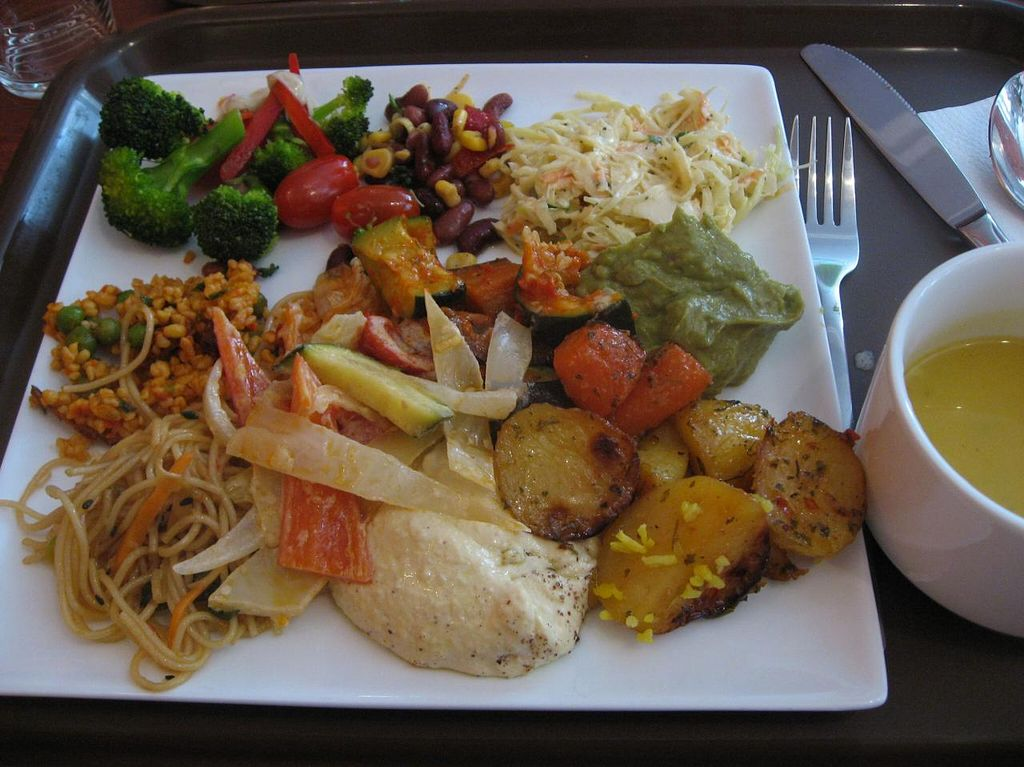 """Photo of CLOSED: Vaxt Cafe  by <a href=""""/members/profile/Sakuru"""">Sakuru</a> <br/>Selection of cold and warm dishes. Soup on a separate bowl on the left <br/> April 13, 2015  - <a href='/contact/abuse/image/54968/98896'>Report</a>"""