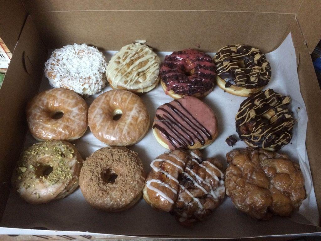 "Photo of Beechwood Doughnuts  by <a href=""/members/profile/veganrosebud"">veganrosebud</a> <br/>A dozen delicious vegan donuts. Beechwood is the vegan equivalent of Krispy Kreme.  <br/> August 26, 2015  - <a href='/contact/abuse/image/55005/115290'>Report</a>"