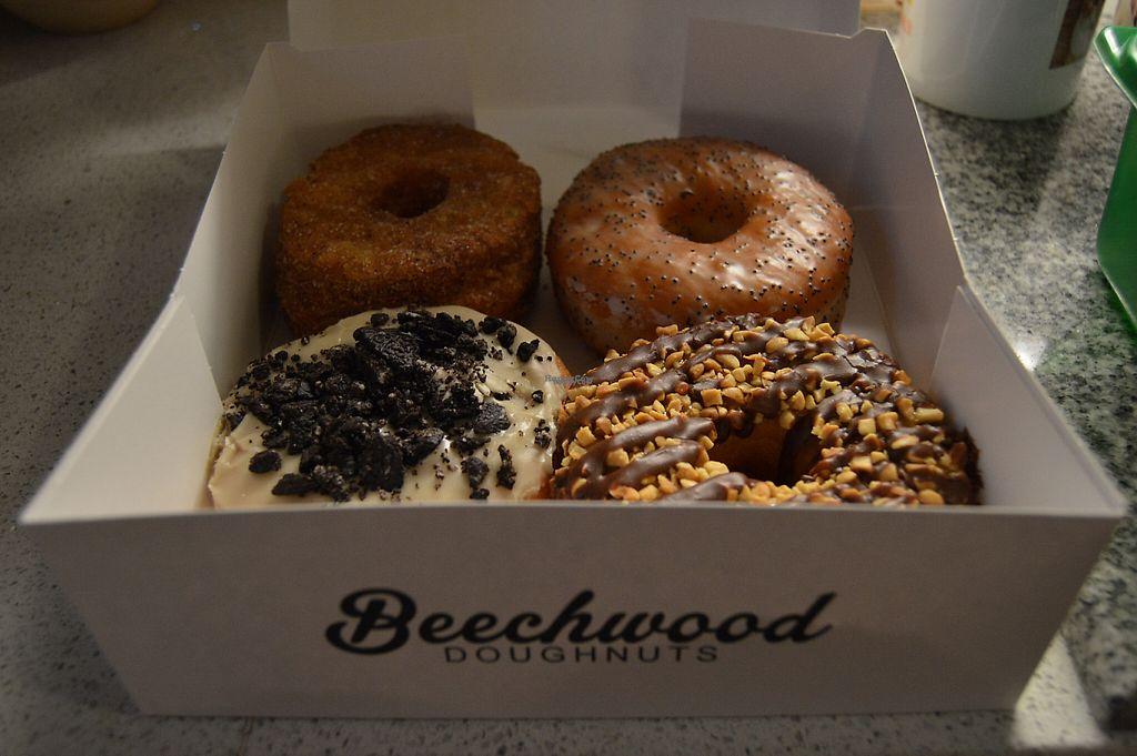 "Photo of Beechwood Doughnuts  by <a href=""/members/profile/Vegan%20GiGi"">Vegan GiGi</a> <br/>Cronut, lemon poppy seed, caramel chocolate crunch, and cookies 'n cream. YUM <br/> April 30, 2017  - <a href='/contact/abuse/image/55005/254409'>Report</a>"