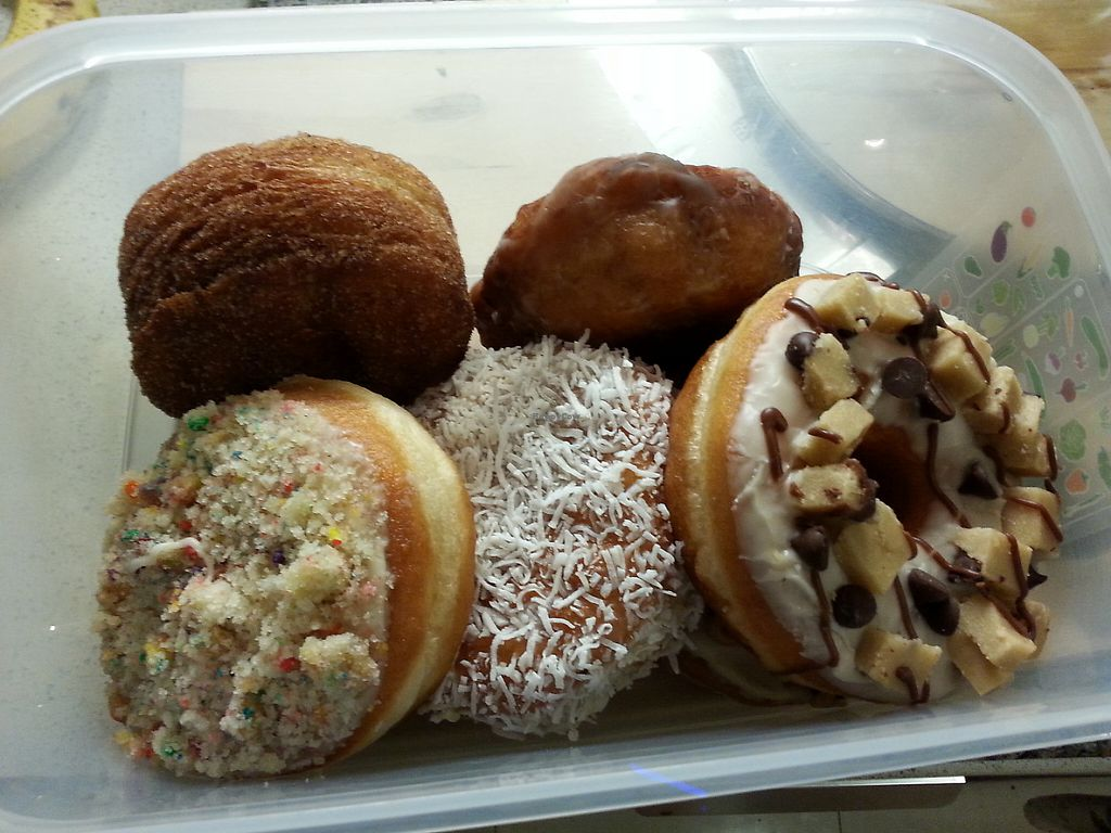 """Photo of Beechwood Doughnuts  by <a href=""""/members/profile/Vegan%20GiGi"""">Vegan GiGi</a> <br/>Bring your own Tupperware and get 10% off! From top left...cronut, apple fritter, cookie dough, coconut cream, birthday cake, and chunky monkey (hidden underneath) <br/> May 8, 2017  - <a href='/contact/abuse/image/55005/257012'>Report</a>"""