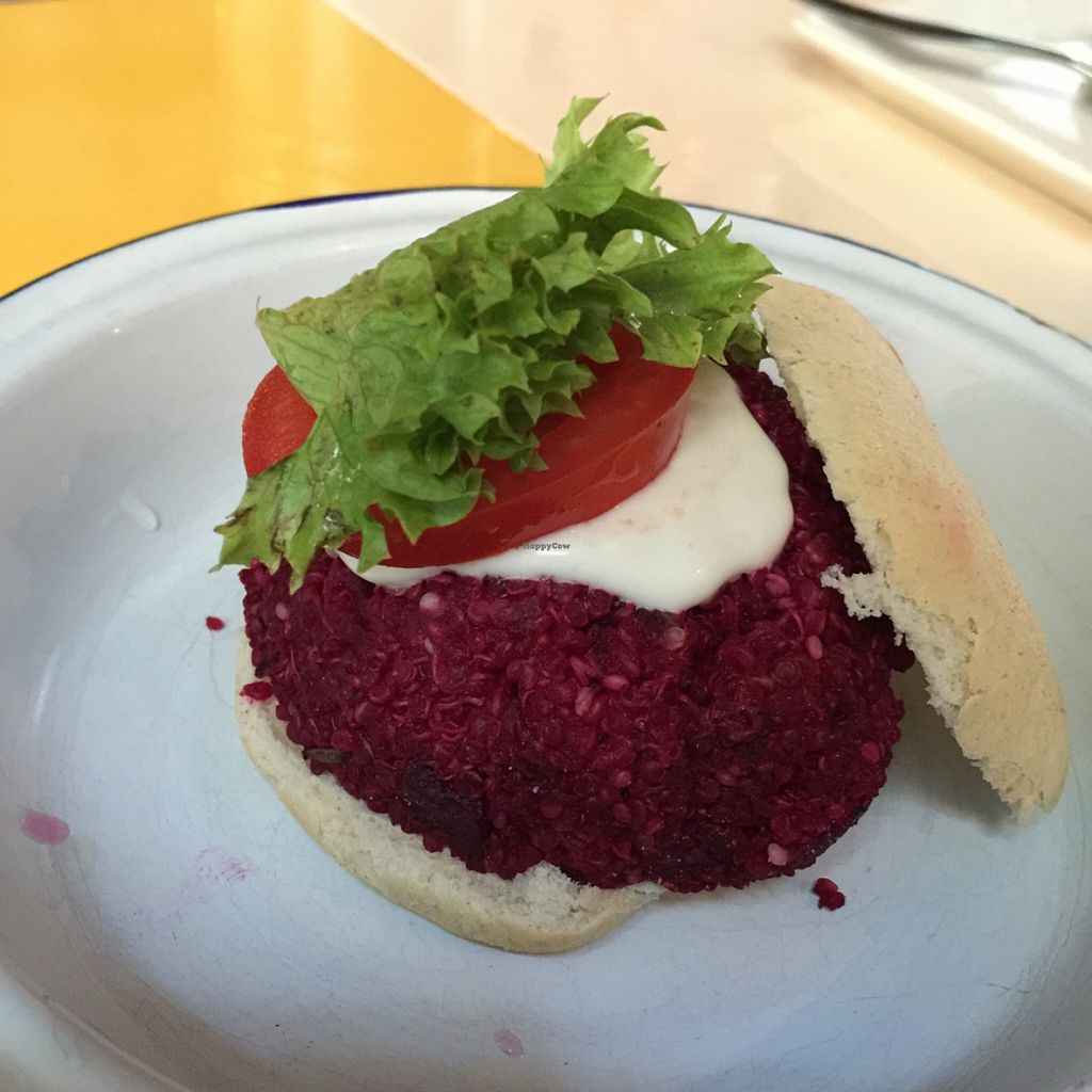 """Photo of Astrid  by <a href=""""/members/profile/MyVeganJoy"""">MyVeganJoy</a> <br/>beetroot quinoa burger <br/> January 2, 2016  - <a href='/contact/abuse/image/55015/130727'>Report</a>"""