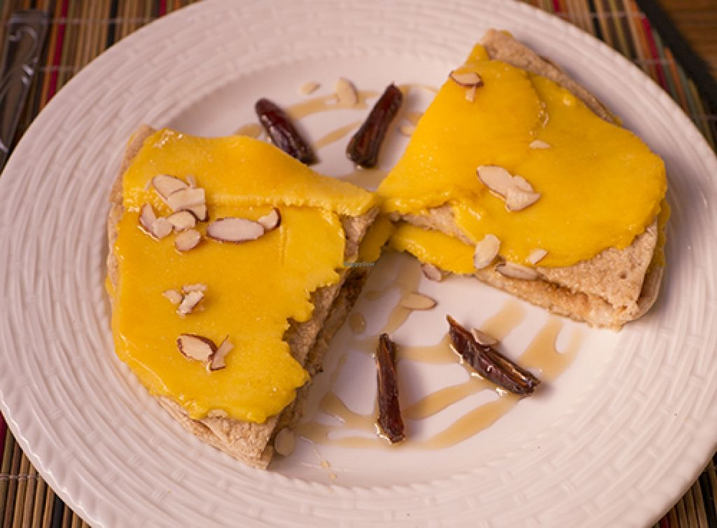 """Photo of Kalenda  by <a href=""""/members/profile/downingfan"""">downingfan</a> <br/>Breakfast item: oat pancakes layered with fresh mango, with dates and slivered almonds <br/> November 9, 2015  - <a href='/contact/abuse/image/55021/124427'>Report</a>"""