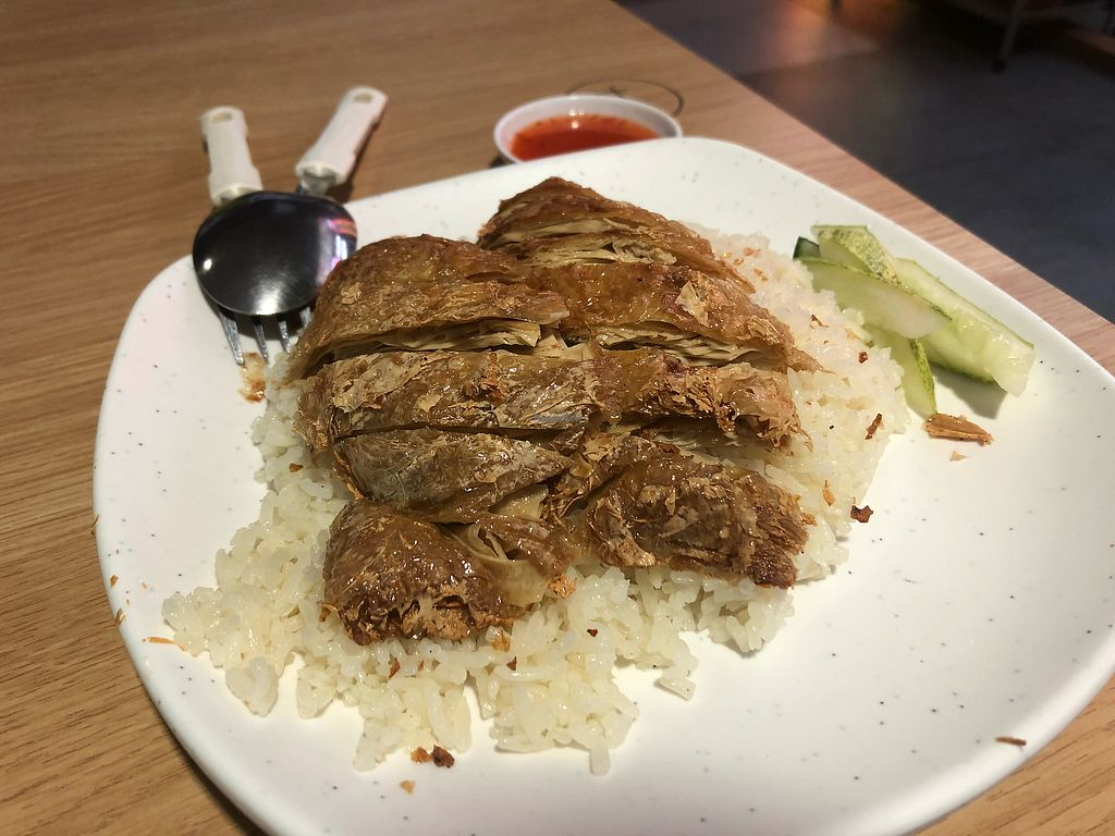"""Photo of Ci Wen Vegetarian Food Stall  by <a href=""""/members/profile/AmyLeySzeThoo"""">AmyLeySzeThoo</a> <br/>""""Chicken"""" Rice <br/> April 15, 2018  - <a href='/contact/abuse/image/55033/386320'>Report</a>"""