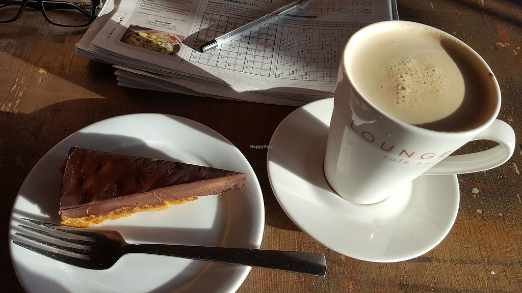 """Photo of Visto Lounge  by <a href=""""/members/profile/VeganAnnaS"""">VeganAnnaS</a> <br/>Vegan chocolate and ginger torte and soya latte <br/> January 4, 2018  - <a href='/contact/abuse/image/55045/343022'>Report</a>"""