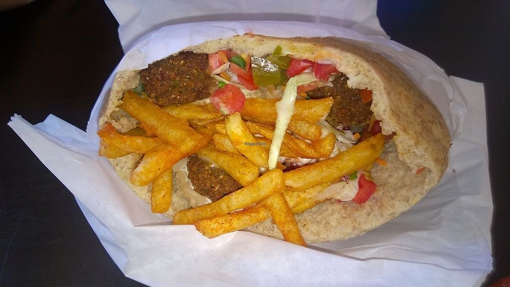 """Photo of The Flying Falafel  by <a href=""""/members/profile/Vegan%20Victoria"""">Vegan Victoria</a> <br/>Flying Falafel Pocket Sandwich with everything! <br/> September 12, 2017  - <a href='/contact/abuse/image/55068/303751'>Report</a>"""