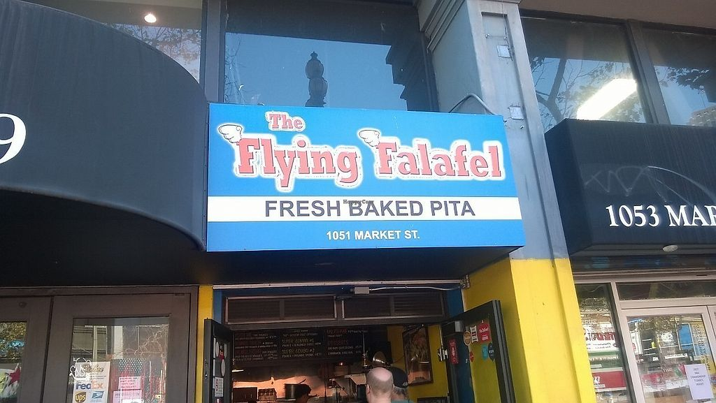 """Photo of The Flying Falafel  by <a href=""""/members/profile/Vegan%20Victoria"""">Vegan Victoria</a> <br/>Exterior of store at 1051 Market St <br/> September 12, 2017  - <a href='/contact/abuse/image/55068/303752'>Report</a>"""
