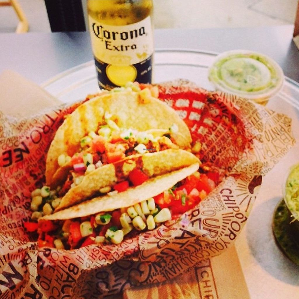 """Photo of Chipotle  by <a href=""""/members/profile/EllieProb"""">EllieProb</a> <br/>Crunchy tacos with corn, sofritas, beans & rice.  <br/> January 23, 2015  - <a href='/contact/abuse/image/55071/191506'>Report</a>"""