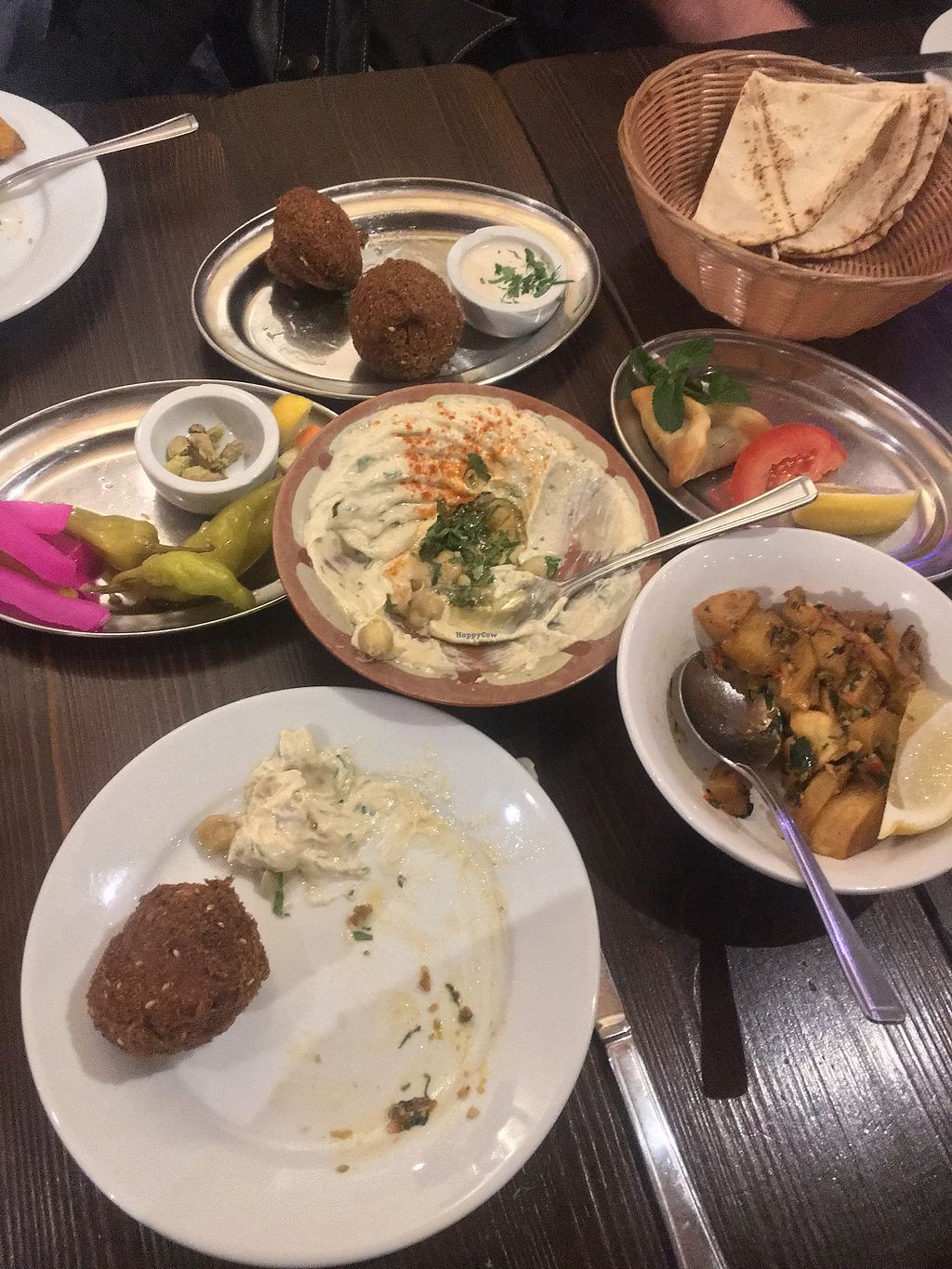 """Photo of Jeitta  by <a href=""""/members/profile/dmcm"""">dmcm</a> <br/>Mid-eating: Hummus Beiruty, Falafel, Batata Harra and Fatayer Spinach - So good! <br/> December 13, 2017  - <a href='/contact/abuse/image/55080/335290'>Report</a>"""