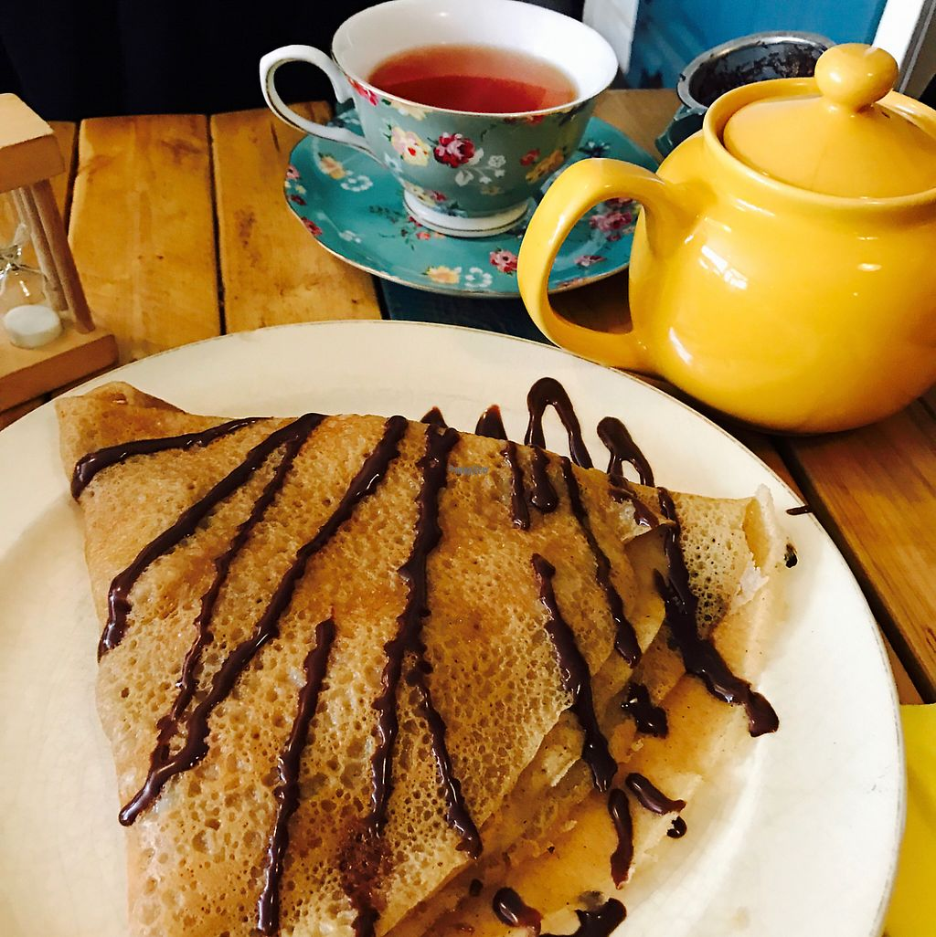 """Photo of Little ChoC Apothecary  by <a href=""""/members/profile/DavidFournier"""">DavidFournier</a> <br/>Nutella and banana crepe with tea <br/> December 23, 2016  - <a href='/contact/abuse/image/55081/204197'>Report</a>"""