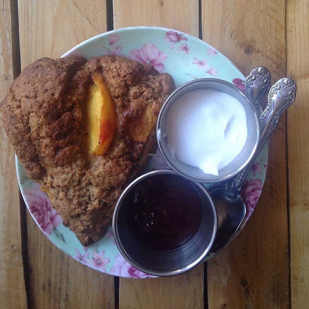 """Photo of Little ChoC Apothecary  by <a href=""""/members/profile/Veganfoodexplorer"""">Veganfoodexplorer</a> <br/>Scone with coconut yogurt and strawberry jam <br/> October 31, 2017  - <a href='/contact/abuse/image/55081/320566'>Report</a>"""