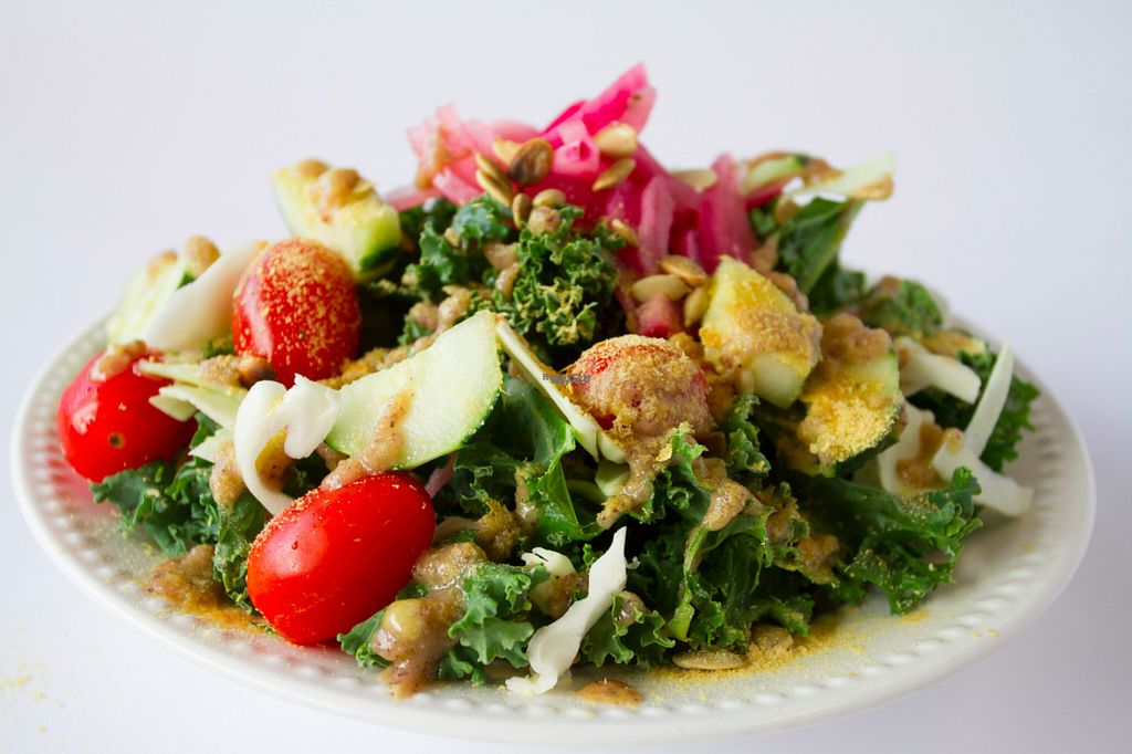 """Photo of CLOSED: Earth Girls Goodies & Eatery  by <a href=""""/members/profile/Happy%20Earth%20Girl"""">Happy Earth Girl</a> <br/>Our Hale Kale Caesar salad houses organic cucumbers, tomatoes, pickled onions, gluten free croutons and nutritional yeast - all tossed in our vegan signature dressing <br/> November 2, 2016  - <a href='/contact/abuse/image/55093/186241'>Report</a>"""