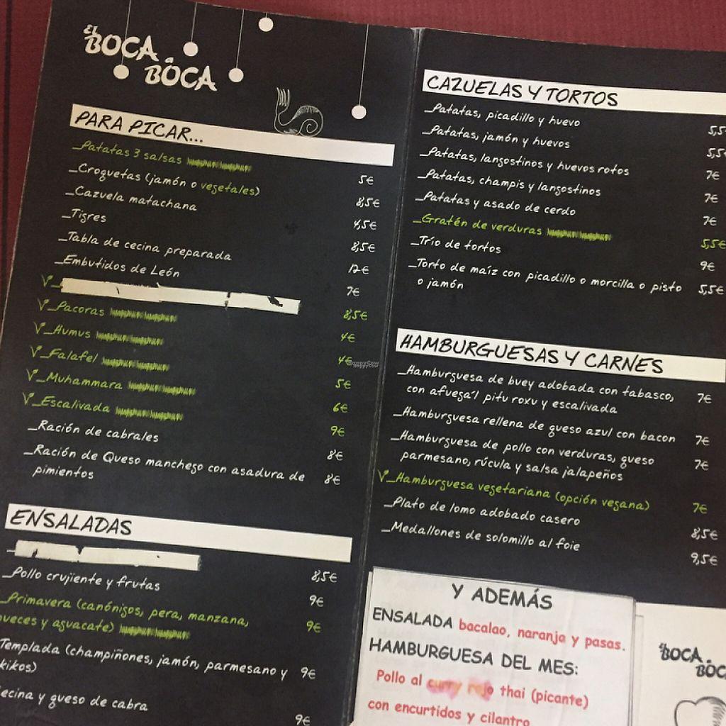 "Photo of El Boca a Boca  by <a href=""/members/profile/guillehdezp"">guillehdezp</a> <br/>Opciones vegetarianas y veganas en carta <br/> April 4, 2017  - <a href='/contact/abuse/image/55107/244732'>Report</a>"