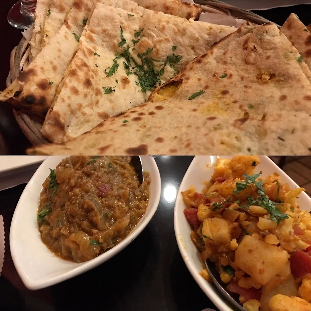 "Photo of Delhi Dhaba  by <a href=""/members/profile/Alysoun%20Mahoney"">Alysoun Mahoney</a> <br/>Roti bread with Baingan Bharta and Aloo Gobi Masala <br/> January 9, 2017  - <a href='/contact/abuse/image/5511/210148'>Report</a>"