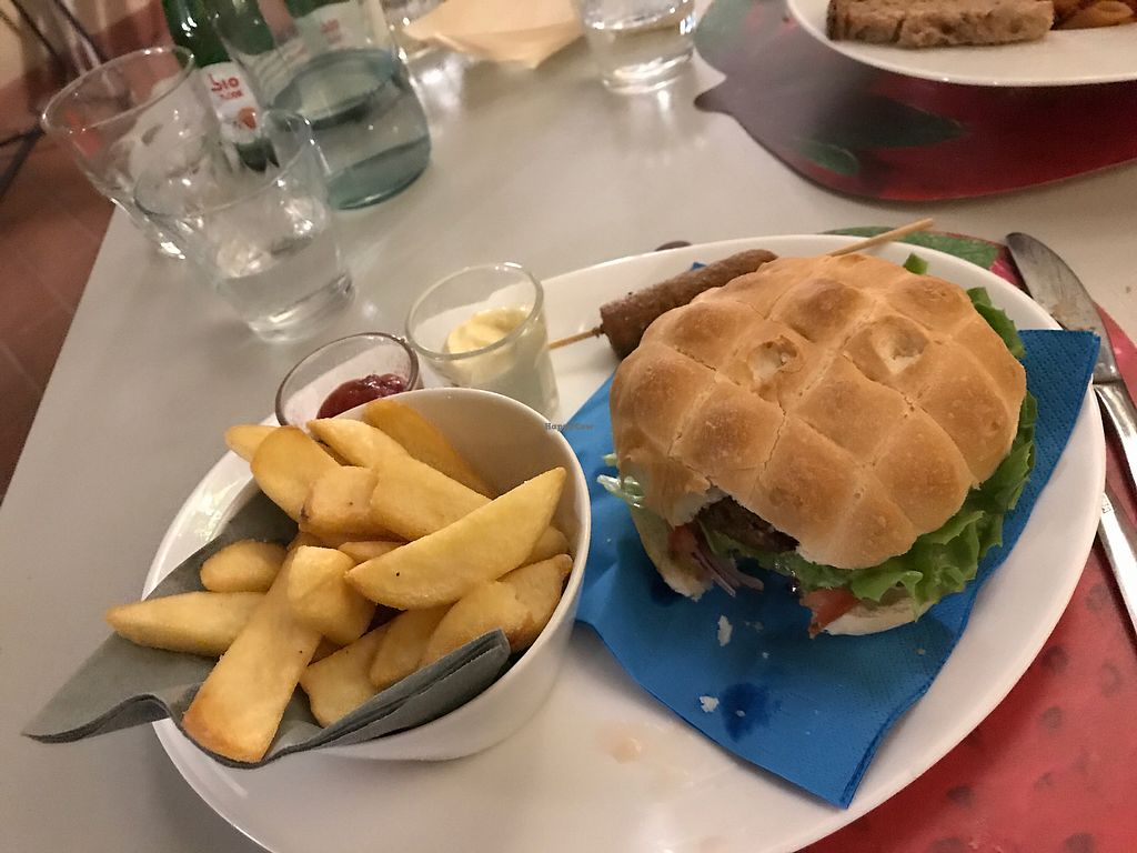 """Photo of Yop  by <a href=""""/members/profile/NorthOfSixty"""">NorthOfSixty</a> <br/>Deluxe burger w/ veggie hotdog, veggie mayo dip for fries. Photo had to wait for first bite. Plenty more upscale dishes too.  <br/> October 4, 2017  - <a href='/contact/abuse/image/55124/311796'>Report</a>"""