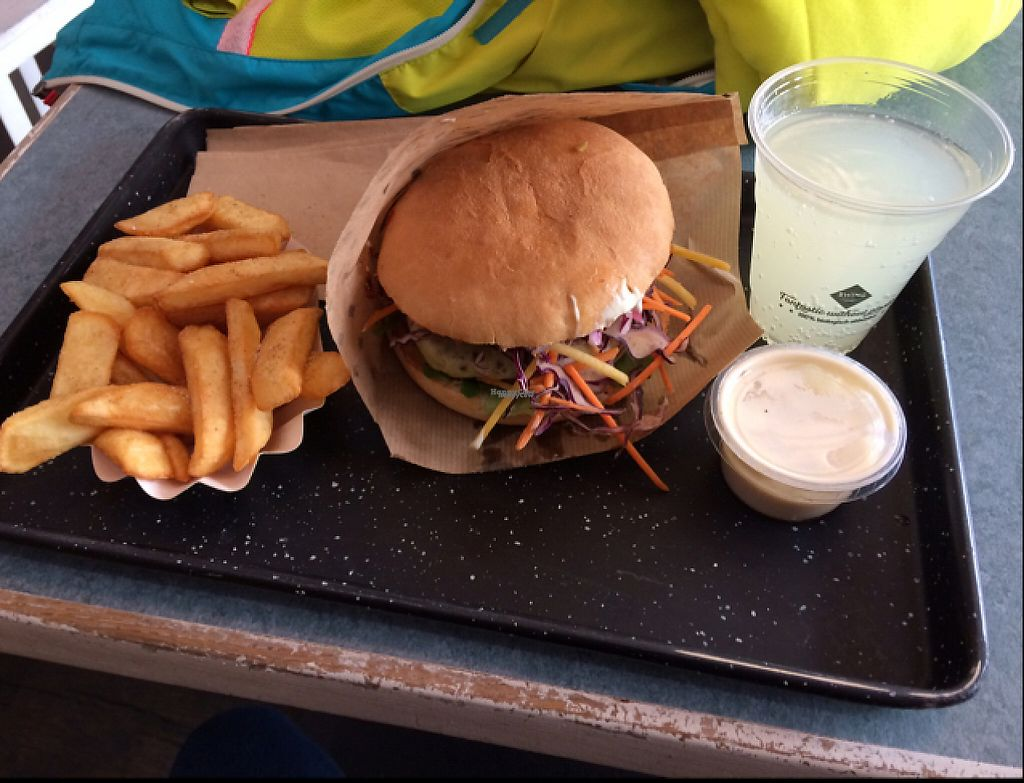 "Photo of Swing Kitchen - Schottenfeldgasse  by <a href=""/members/profile/WarsaW"">WarsaW</a> <br/>Cheeseburger with fries, lemonade and garlic dip <br/> April 26, 2017  - <a href='/contact/abuse/image/55157/252852'>Report</a>"
