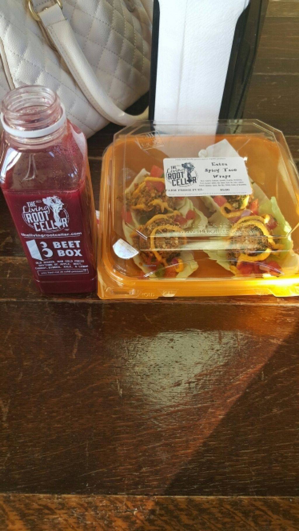 "Photo of CLOSED: The Living Root Cellar  by <a href=""/members/profile/Thevegandoll"">Thevegandoll</a> <br/>beet box juice and spicy tacos :) <br/> October 30, 2015  - <a href='/contact/abuse/image/55173/123270'>Report</a>"